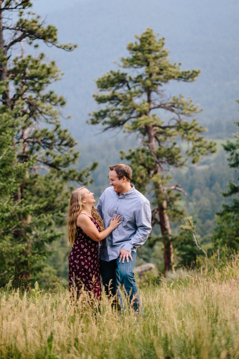 Rocky Mountain Morrison Engagement, laughing couple
