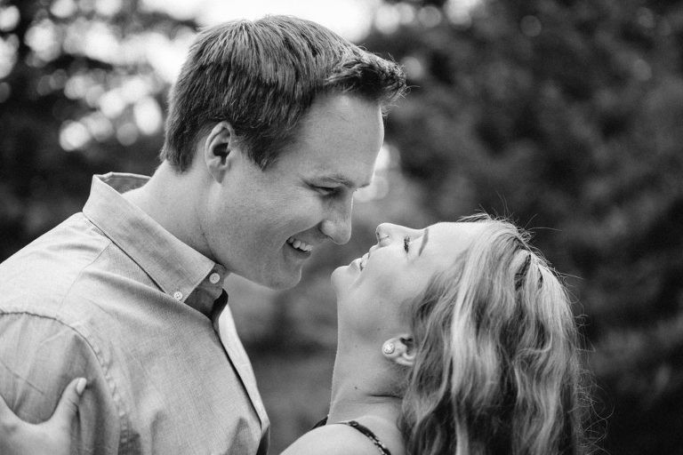 Morrison Engagement session, black and white photo of couple laughing together