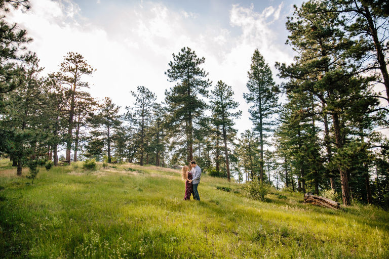 Mount Falcon Park engagement session, Morrison engagement session, couple dancing in field