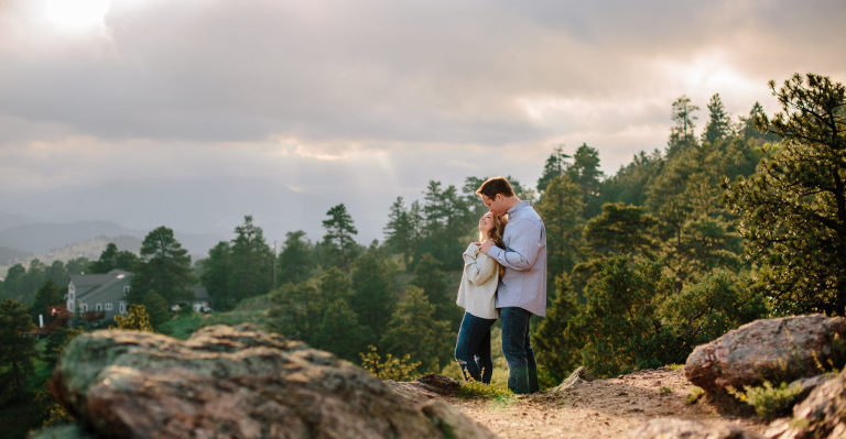Morrison Engagement Session, Mount Falcon Engagement session, Mount Falcon couple laughing, Mount Falcon sunset