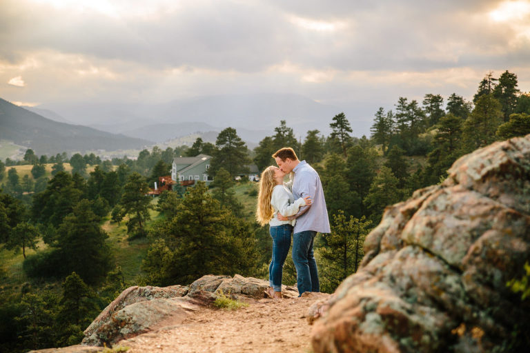 Morrison Engagement Session, Mount Falcon Park Engagement Session, Mount Falcon couple kissing, Mount Falcon sunset