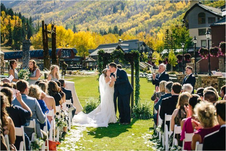 Vail wedding photographer, Vail wedding videographer, Park Hyatt at Beaver Creek wedding, Park Hyatt at Beaver Creek, fall Vail wedding, Vail wedding, First Kiss as Husband and Wife