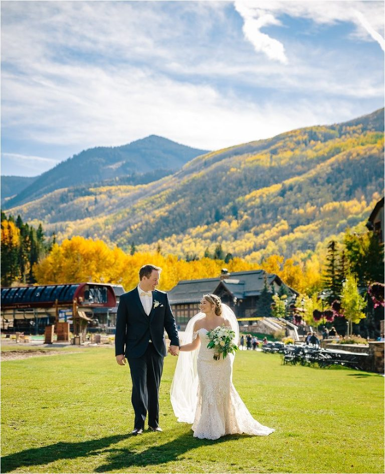 Bride and Groom at Park Hyatt at Beaver Creek, Park Hyatt at Beaver Creek wedding, Vail ski resort wedding, Vail ski resort in fall, fall Vail wedding, Vail wedding photographer, Vail wedding videographer, Vail Bride and Groom portraits