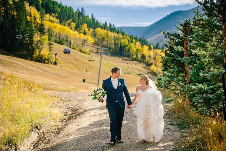 Park Hyatt at Beaver Creek wedding, Park Hyatt at Beaver Creek, Bride and Groom at Park Hyatt Beaver Creek, Vail ski resort wedding, fall Vail wedding, Bride and Groom portraits Vail ski resort, Vail wedding photographer, Vail Wedding videographer