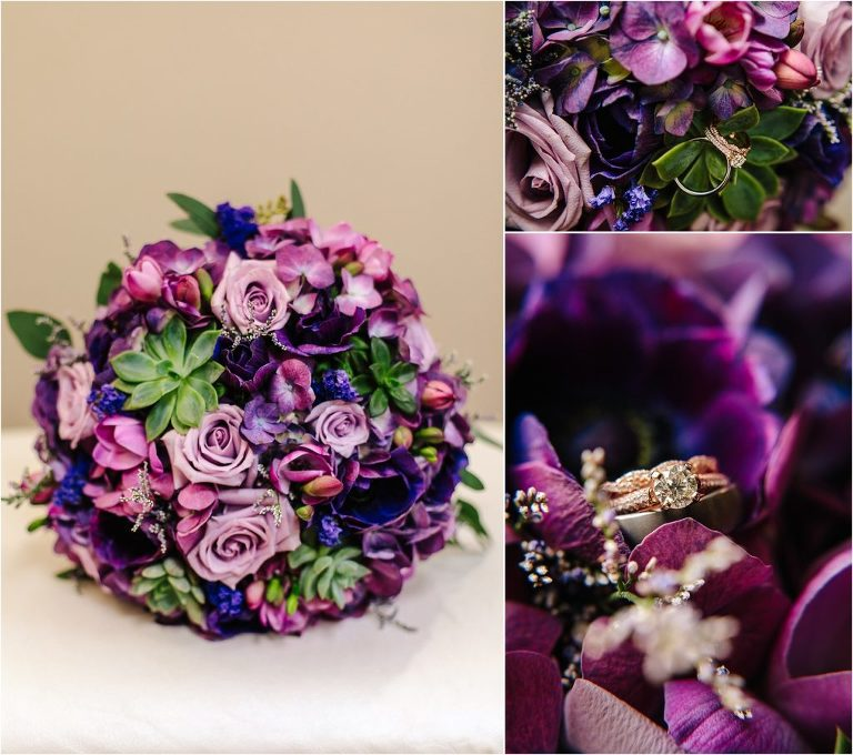Wedgewood Black Forest wedding, Wedgewood Black Forest bridal bouquet, bride bouquet, bridal bouquet, purple wedding florals, Wedgewood Black Forest wedding rings, wedding rings, ring shot, wedding rings in bridal bouquet, wedding rings in flowers, wedding rings in bouquet